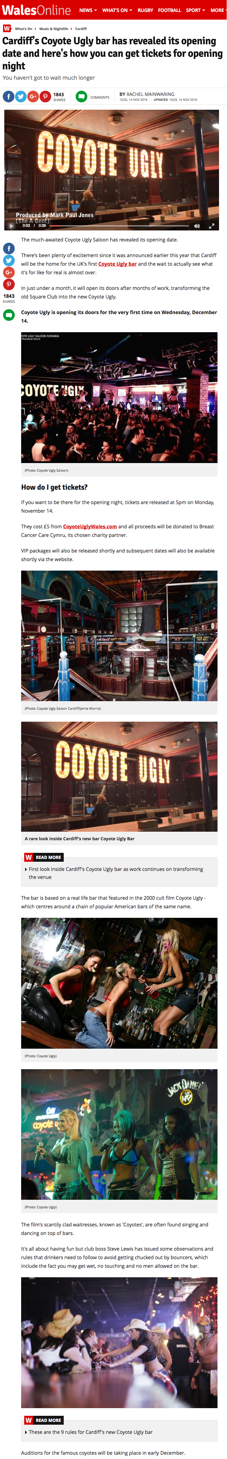 Coyote Ugly Cardiff Opening