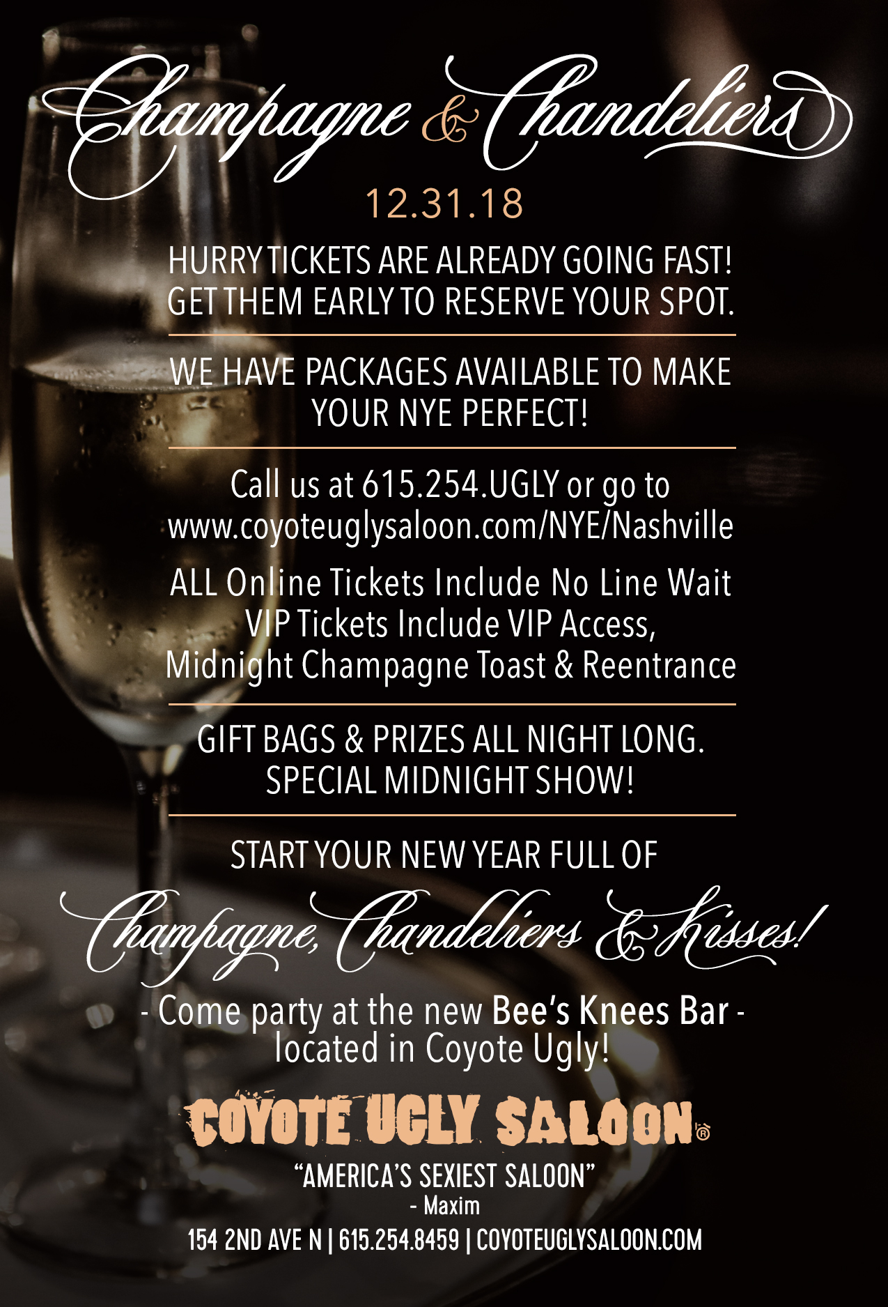 New Year's Eve – Champagne & Chandeliers in Nashville on December 31, 2018