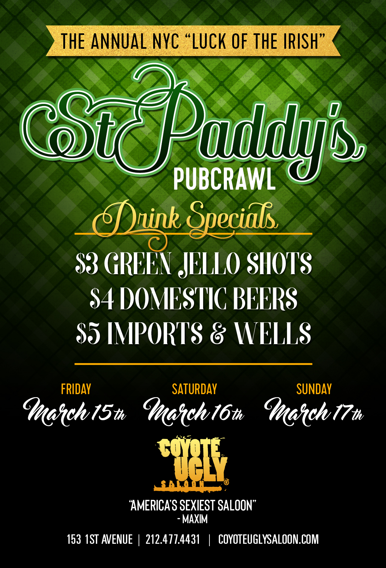 St. Paddy's Pub Crawl in New York City on March 15, 2019 - March 17, 2019