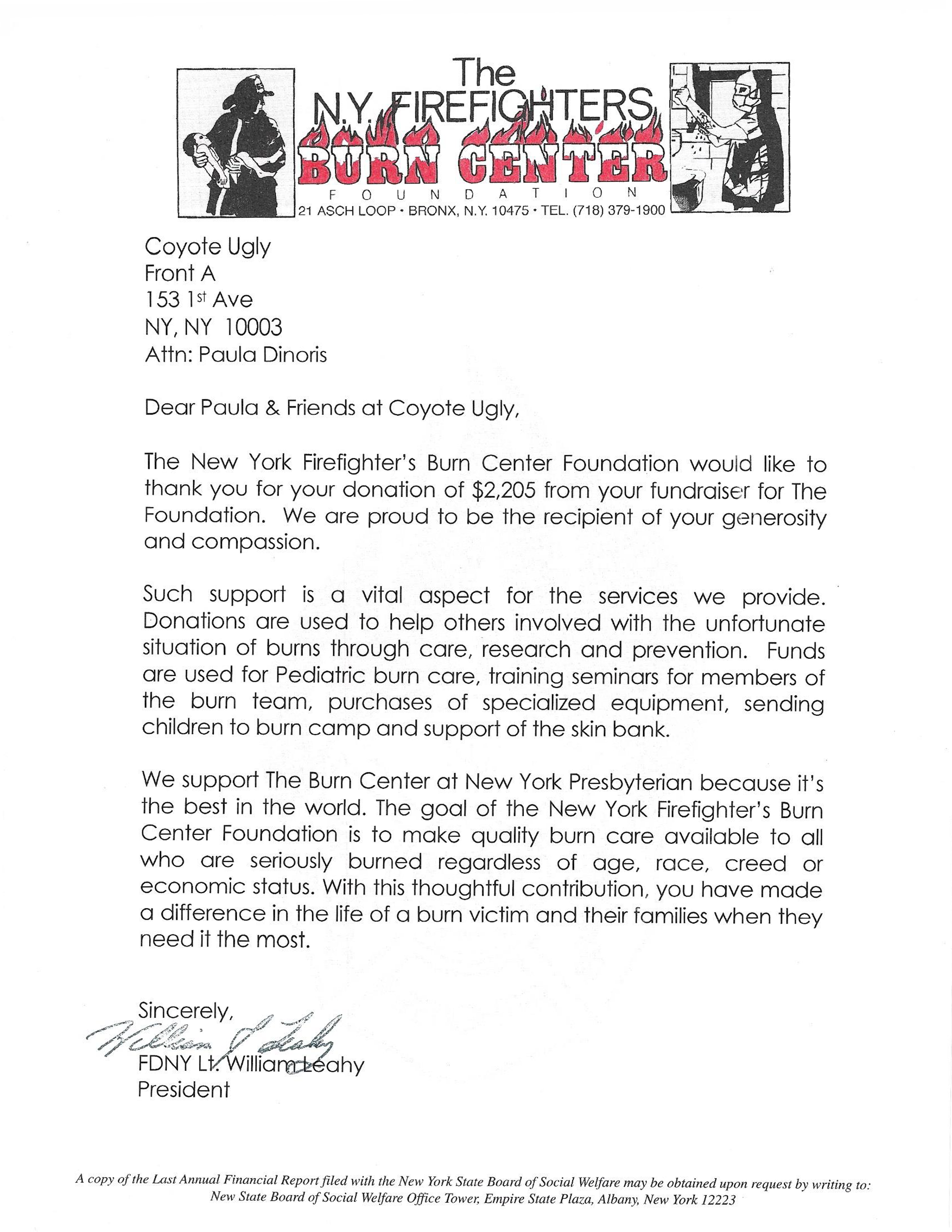 NYFD letter - New York