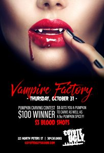 Vampire Factory & Pumpkin Carving Contest in New Orleans on October 31, 2019