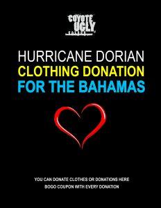 Clothing Donation for the Bahamas in Austin, Denver, Memphis, Nashville, New Orleans, New York City, Oklahoma City, San Antonio, San Diego on September 20, 2019 - October 19, 2019