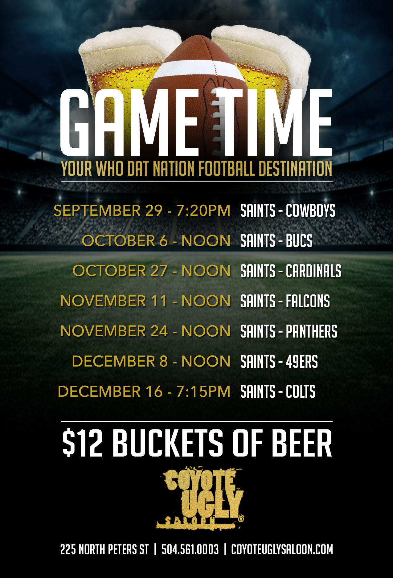Saints vs. Cardinals in New Orleans on October 27, 2019