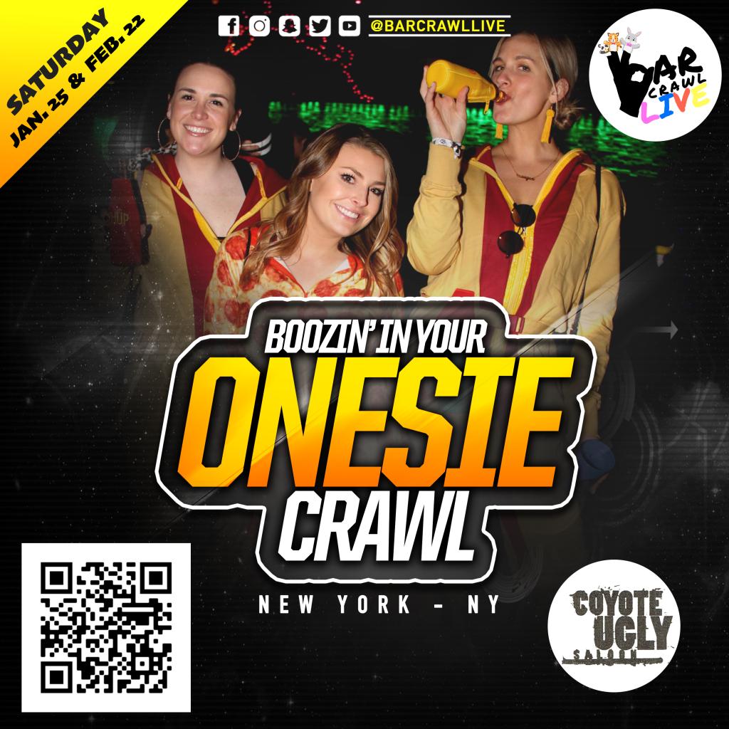Boozin' In Your  ONESIE Crawl in New York City on February 22, 2020