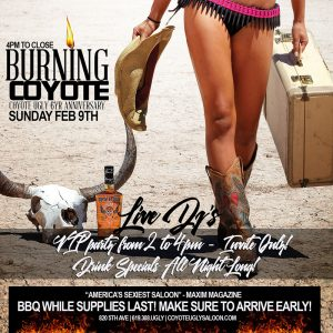6 Year Anniversary – Burning Coyote in San Diego on February 9, 2020