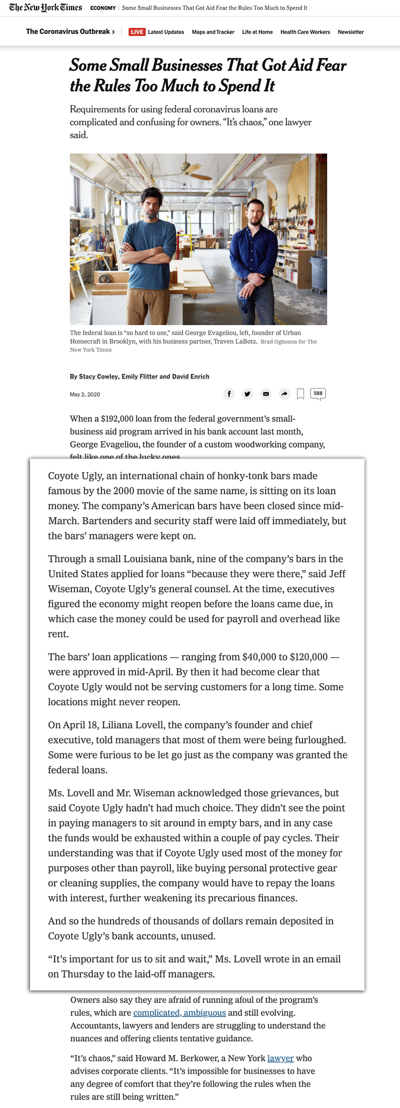 NY Times coronavirus screenshot