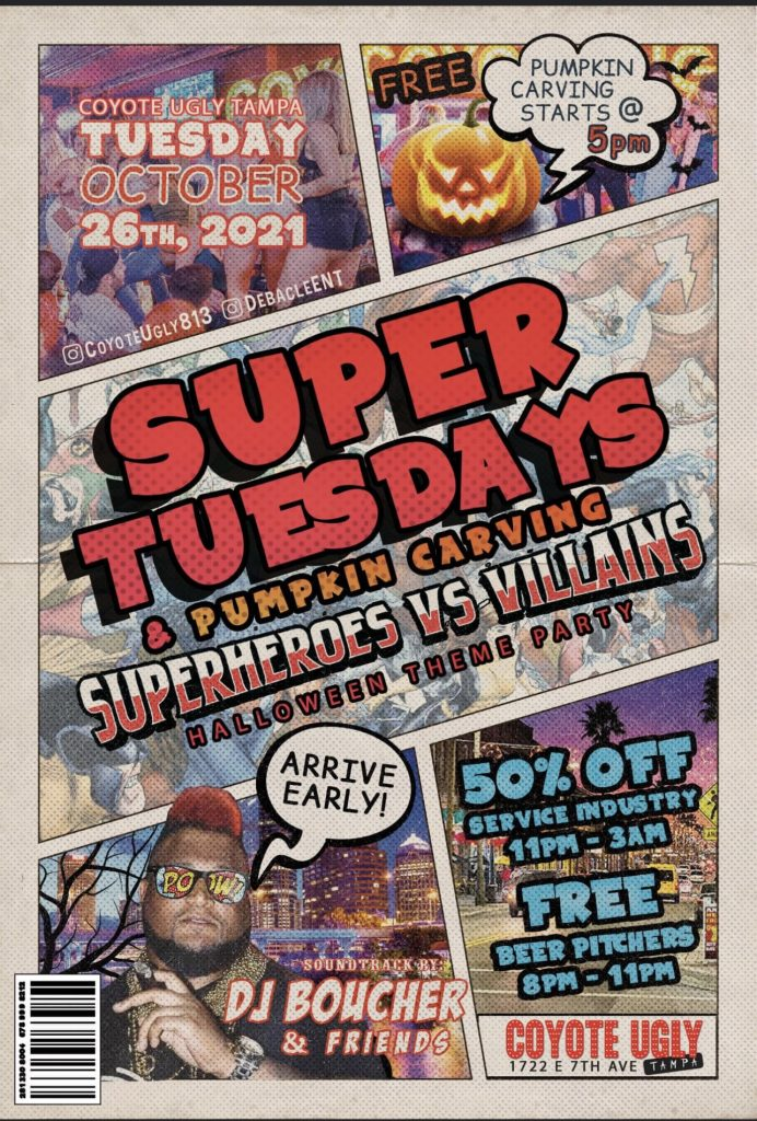 Superheroes vs. Villains Halloween Theme Party in Tampa on October 26, 2021